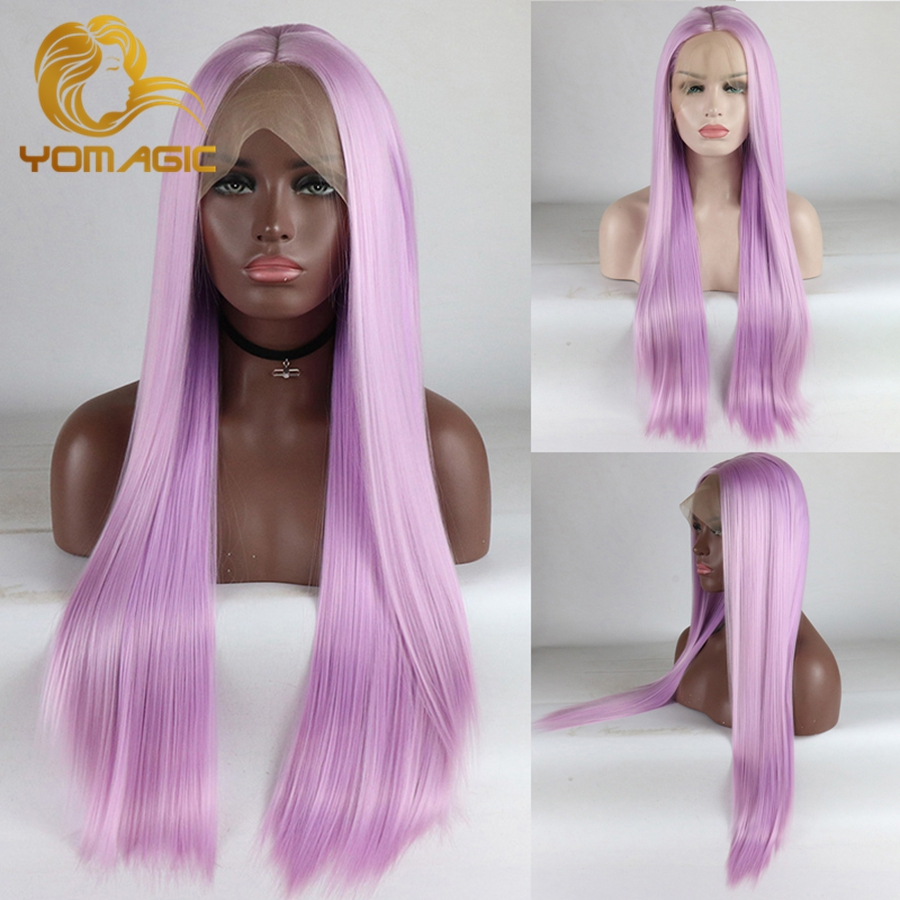 Yomagic Purple Pink Lace Front Wig For Women Silk Straight Hair Wigs Realistic Glueless Lace Wig Nautral Hairline