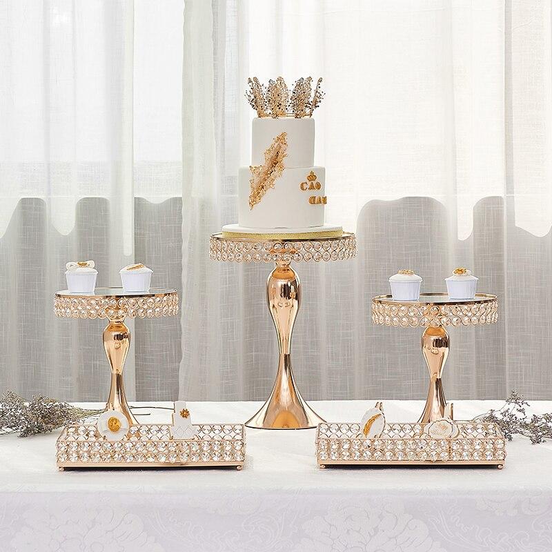 Ensemble de supports en cristal doré | Sirène pieds hauts support de cupcake kit de plateaux rectangulaires 5/10/12/14 pièces fournisseur pour fête de mariage