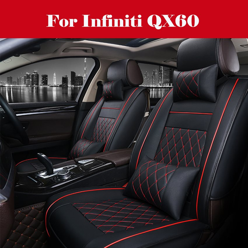 All Weather Custom Fit Seat Covers for Infiniti Q50 Q70//L Q60 5-Seat Full Protection Waterproof Car Seat Covers Ultra Comfort Black /& Red Full Set