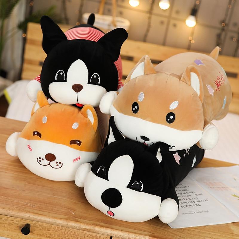 55/80cm Cute Dog Plush Toys Stuffed Down Cotton Animal Doll Kawaii Corgi Shiba Inu Toys For Children Soft Pillow Birthday Gift