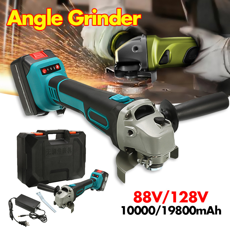 Protable Electric Angle Grinder Cordless Power Cutting Tool + 19800/10000 Lithium Battery Rechargeable Power Tool Grinder
