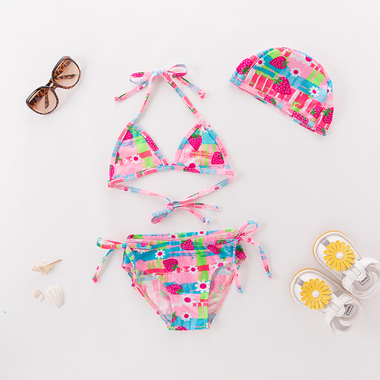 Short In Size Processing Girls' Two-piece Swimsuit Pink Strawberry With Hat-KID'S Swimwear Hot Springs Clothing