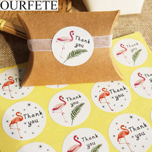 120pcs Flamingo Round Thank You Paper Stickers Candy Dragee Gift Box Wedding Party Decor DIY Craft Wrapping Labels
