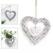 Винтажная плетеная подвеска в форме сердца венок настенное украшение