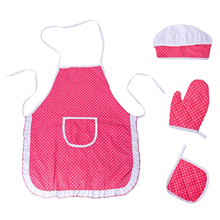 Chef Set for Kids,4Pcs Cooking Set for Boys Girls Toddler Role Play Cook Costume with Apron, Chef Hat, Oven Mitt ,Hot Pad