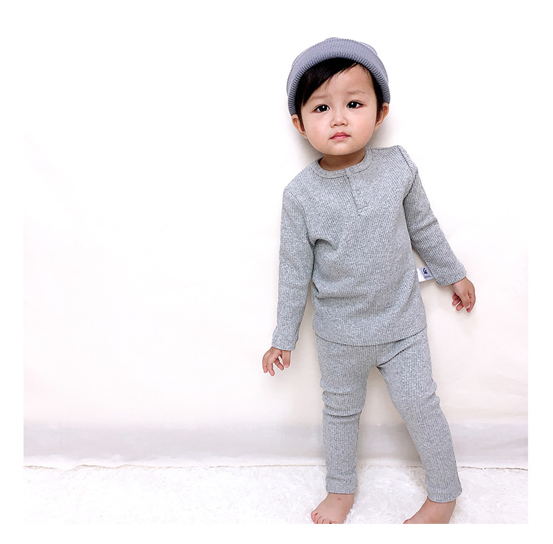 Soft Ribbed Toddler Girl Pajamas For Baby Boys Clothes Set Autumn Winter Children Outfits Long Sleeve Tops Pants 2 Pcs Kids Suit (7)