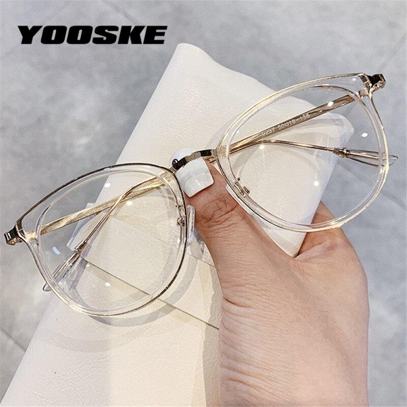 YOOSKE Cat Eye Glasses Frames Women Anti Blue Light Computer Glasses Men Vintage Clear Optical Eyeglasses Myopia Frame