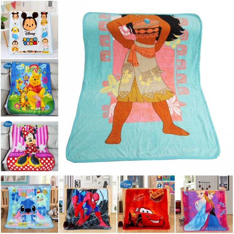 Disney Soft Flannel Moana Pua Teal Blue Hawaii Stitch Blankets For Girls Boys Children Gift Throw 100x140cm Bedroom On Bed Sofa