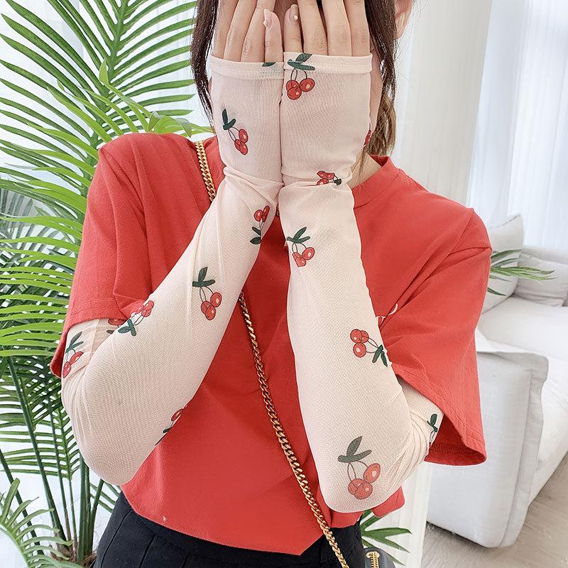 2020 Ins Celebrity Cool Sleeve Female Cute Sunscreen Hand Sleeve Arm Sleeve Drive Artifact Fashion Printing Ice Silk Gloves