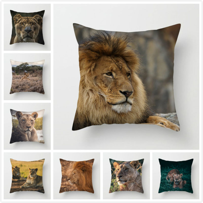 Fuwatacchi Animal Series Pillow Cover Lion Elephant Cushion Cover For Home Sofa Chair Car Bedroom Decorative Pillows 2019