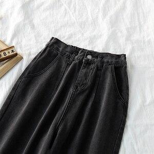 Jeans Frauen BF Breite Bein Hosen Denim Schwarz Frauen Lose Beiläufige Täglich Hohe Elastische Taille Harajuku Koreanische Chic Allgleiches Ulzzang