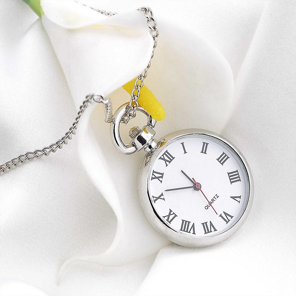 OUTAD 1pcs Quartz Round Pocket Watch Dial Vintage Necklace Silver Chain Pendant Antique Style Personality Pretty Gift