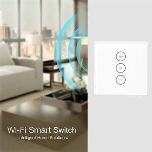 Image 2 - Wifi akıllı duvar dokunmatik ışık dimeri anahtarı ab/İngiltere/abd standart APP uzaktan kumanda Amazon Alexa ile çalışır ve google ev