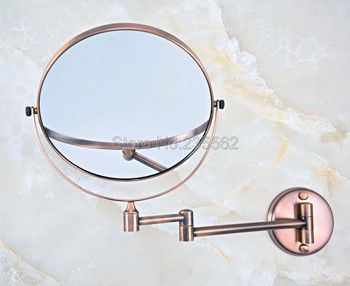 Red Copper Folding Dual Arm Extend Bathroom Makeup mirrors 1:1 and 1:3 magnifier Cosmetic Bathroom Wall Mirror Lba631