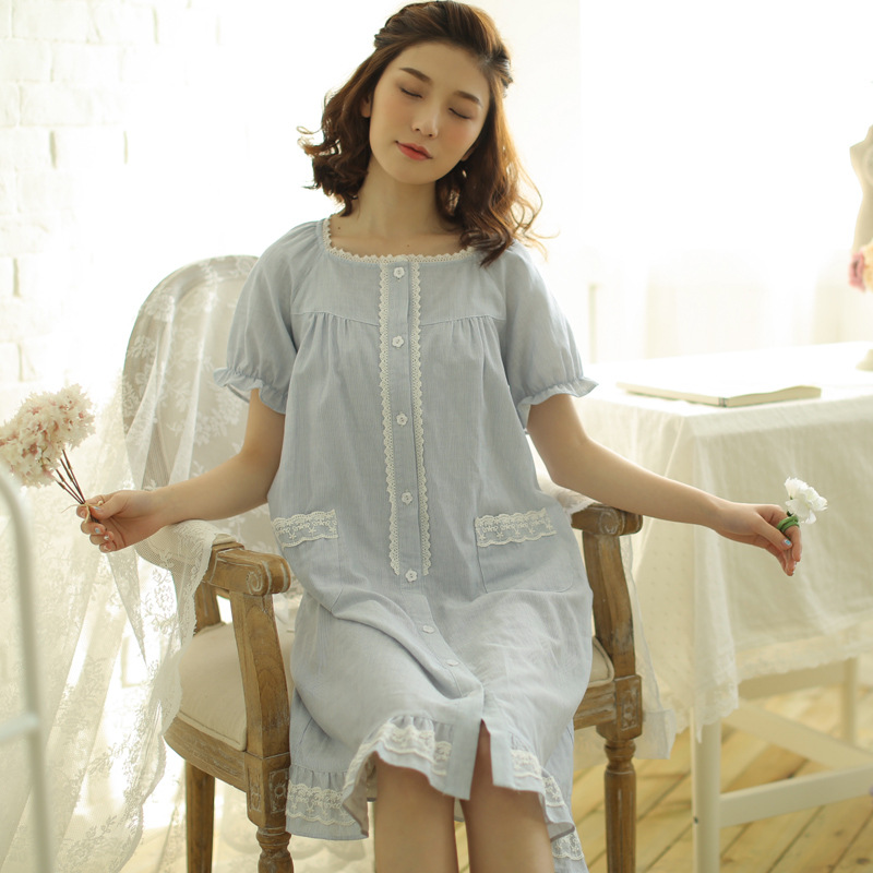 Meju Summer Nightgown Women's Cotton Thin Short Sleeve Tatting Home Wear Solid Color