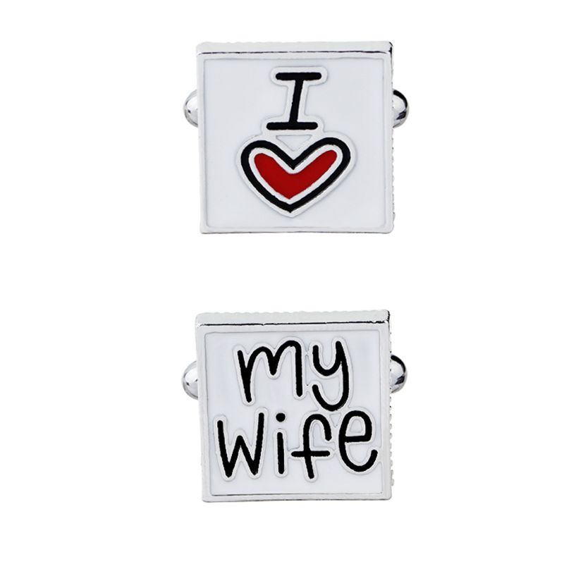 Valentines Day Men I Love My Wife Enamel Square Shirt Suit Cufflinks Wedding Letters Print Cuff Link Fashion Jewelry