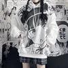 Japanese Anime Hoodie Autumn Clothes Women Sweatshirt Fashion Print Long Sleeve Tops Loose Warm Velvet Plus Size Women Pullover 2