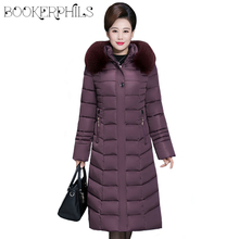 2019 Winter Women's Jacket Middle-aged Long Cotton Thicken Hooded Fur Collar Cotton Parkas Women's Winter Coat Plus Size XL-6XL цены онлайн