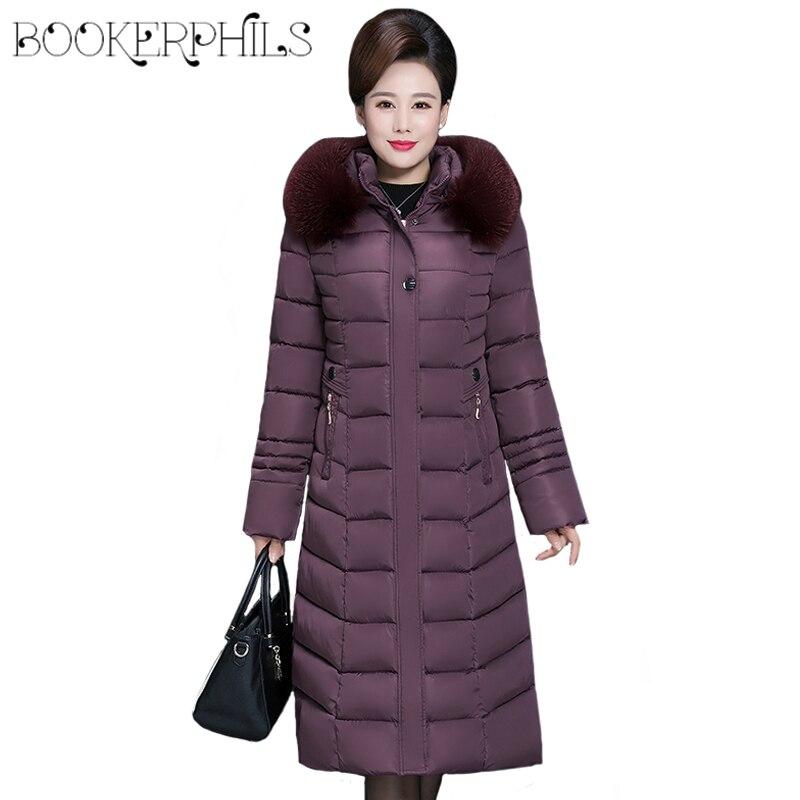 2019 Winter Women's Jacket Middle-aged Long Cotton Thicken Hooded Fur Collar Cotton   Parkas   Women's Winter Coat Plus Size XL-6XL