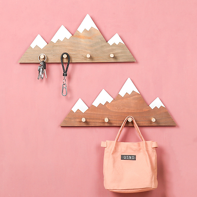 Nordic Style Wooden Wall Hanger Decorative Kids Children Room Key Holder Clothes Coat Rack Hooks Wall Mounted Nursery Home Decor