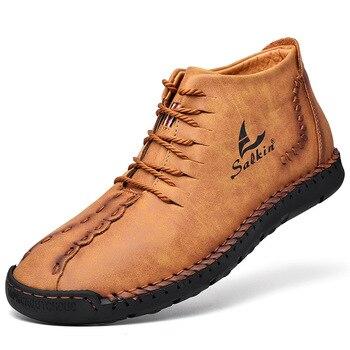 2020 модные зимние мужские ботинки, кожаные ботильоны ручной работы, синие уличные осенние ботинки, мужская повседневная кожаная обувь