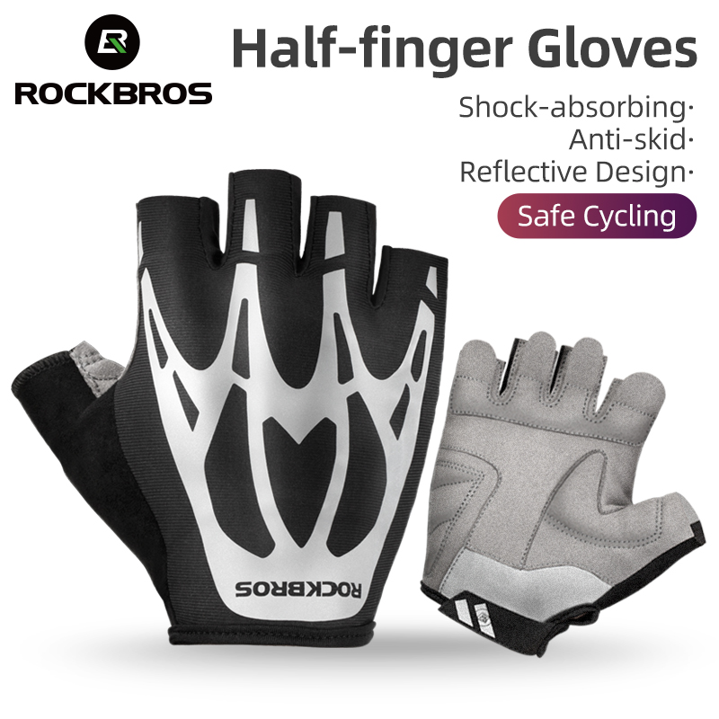 Half Finger Gloves Bicycle Non-slip Sports Reflective Mountain MTB Bike Cycling