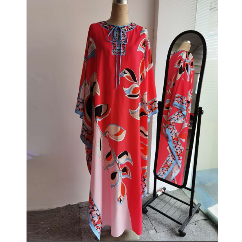 [DEAT] 2020 Floor Length Silk Dress Women Knit Elastic Bohemian Print Elegant Leaves Over Size Loose New Autumn Fashion AR872