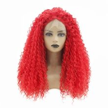 Hot Red Color Long Afro Kinky Curly Lace Wigs Heat Resistant Fiber Glueless Synthetic Lace Front Wig with Baby Hair Full Density afro kinky curly free part baby hair glueless lace front wig baby hair 12 26inch full lace wig cheap wigs for african women