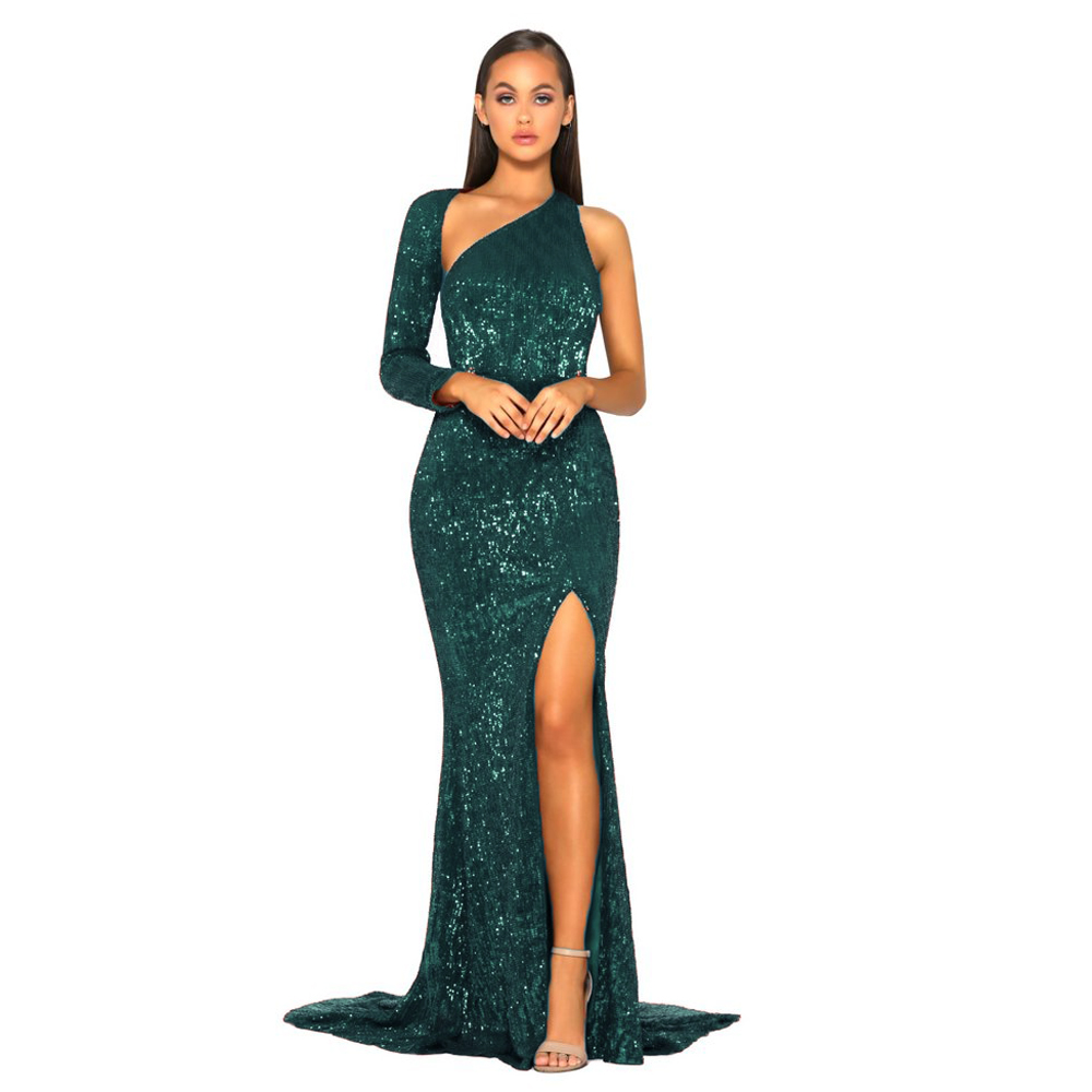 One Shoulder Backless Green Sequined Maxi Dress Split Leg Sexy Floor Length Evening Party Long
