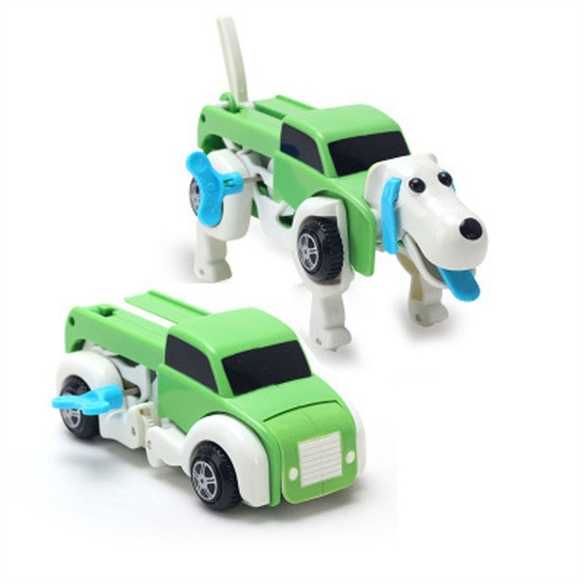 4 colors 14CM cool Automatic transform Dog Car Vehicle Clockwork Wind up toy for children kids boy girl toy Gift
