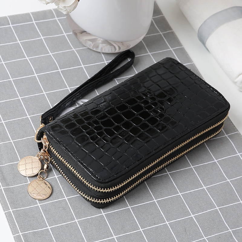 Double Zipper Wallet Bag For Women Female PU Leather Long Phone Card Holder Coin Pocket Clutch Purses Money Bags Fashion Handbag
