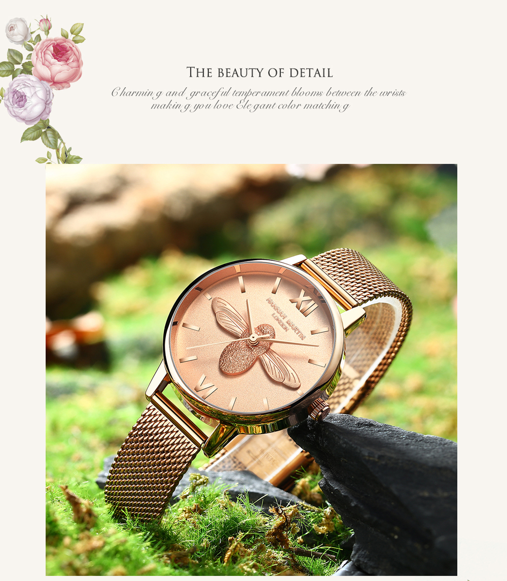 Rose Gold Bee Personality Design Ladies Watch 15