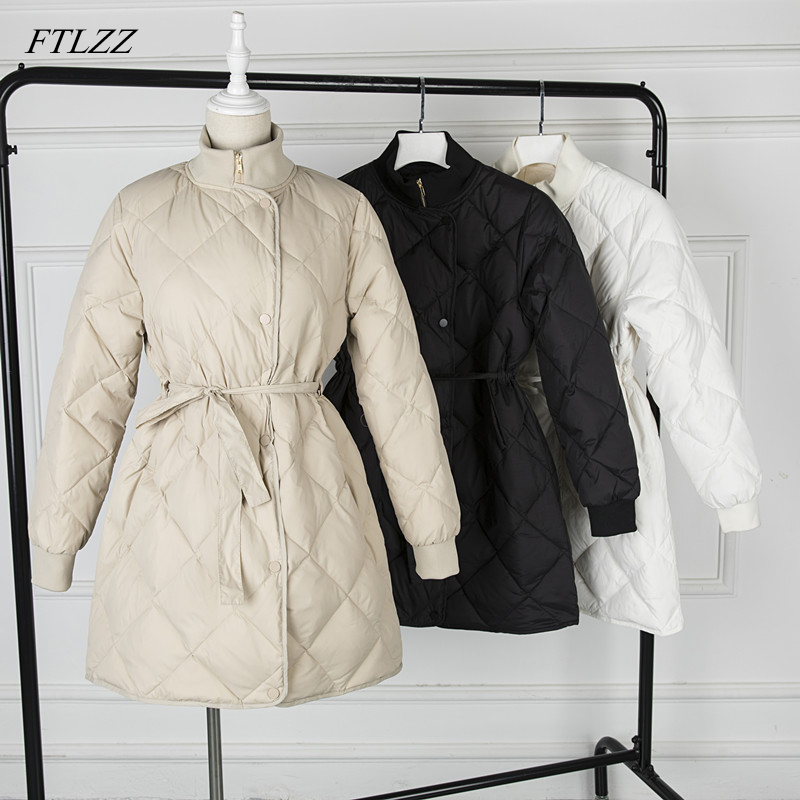 FTLZZ Women Ultra Light 90% White Duck   Down   Parkas Winter Jacket Female Stand Collar With Belt Zipper   Coat   Snow Outerwear