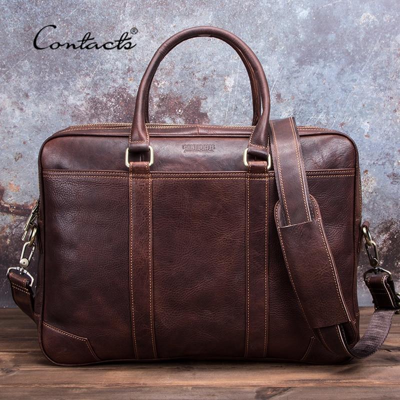 CONTACT'S Business Man Bag Vegetable Cow Leather Briefcase Bags For Men Laptop Shoulder Bag Quality Male Handbags Portafolio
