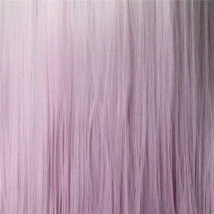 Image 5 - Woodfestival feminino resistente ao calor ombre peruca sintética longo cabelo reto cosplay perucas para mulher