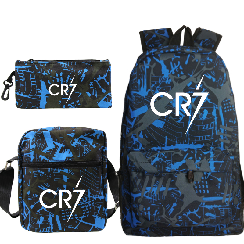 Cristiano Ronaldo CR7 3pcs/set Backpack School Bags For Girls Boy Laptop Travel Backpack Women Backpacks+shoulder Bags+pen Bag