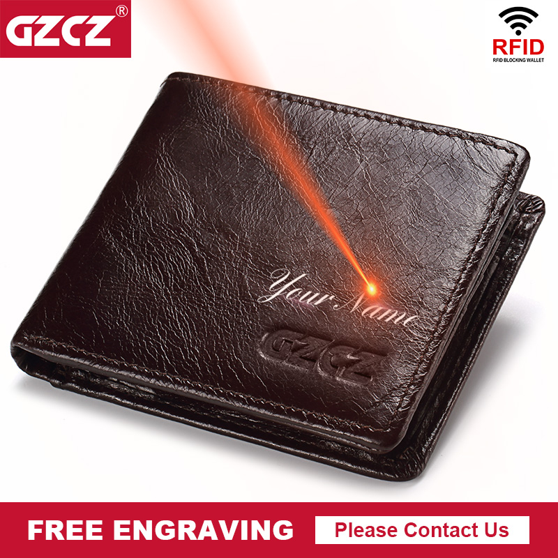 GZCZ Rfid 100% Genuine Leather Men Wallet Fashion Short Bifold Casual Soild Male Coin Purse Portomonee PORTFOLIO Card Holder