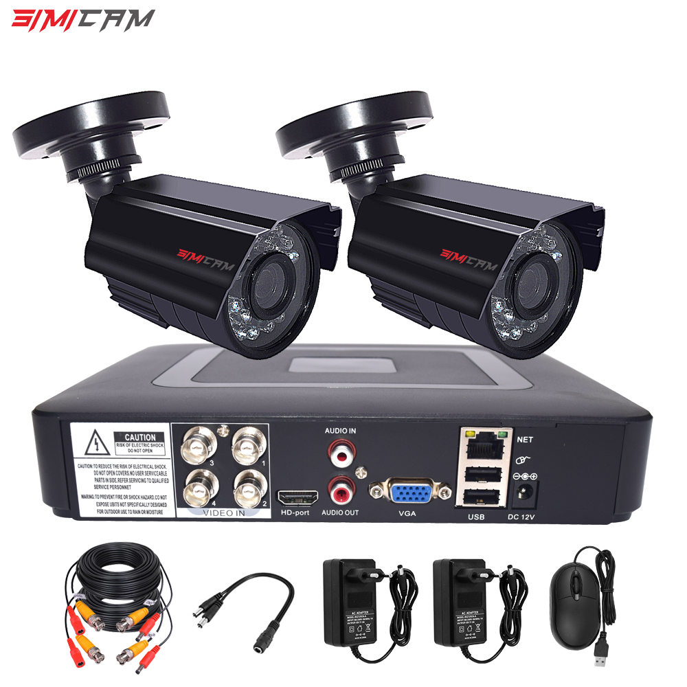 cctv camera security system kit 4CH DVR 1080p 2pcs AHD analog camera surveillance Waterproof Night Vision video surveillance set
