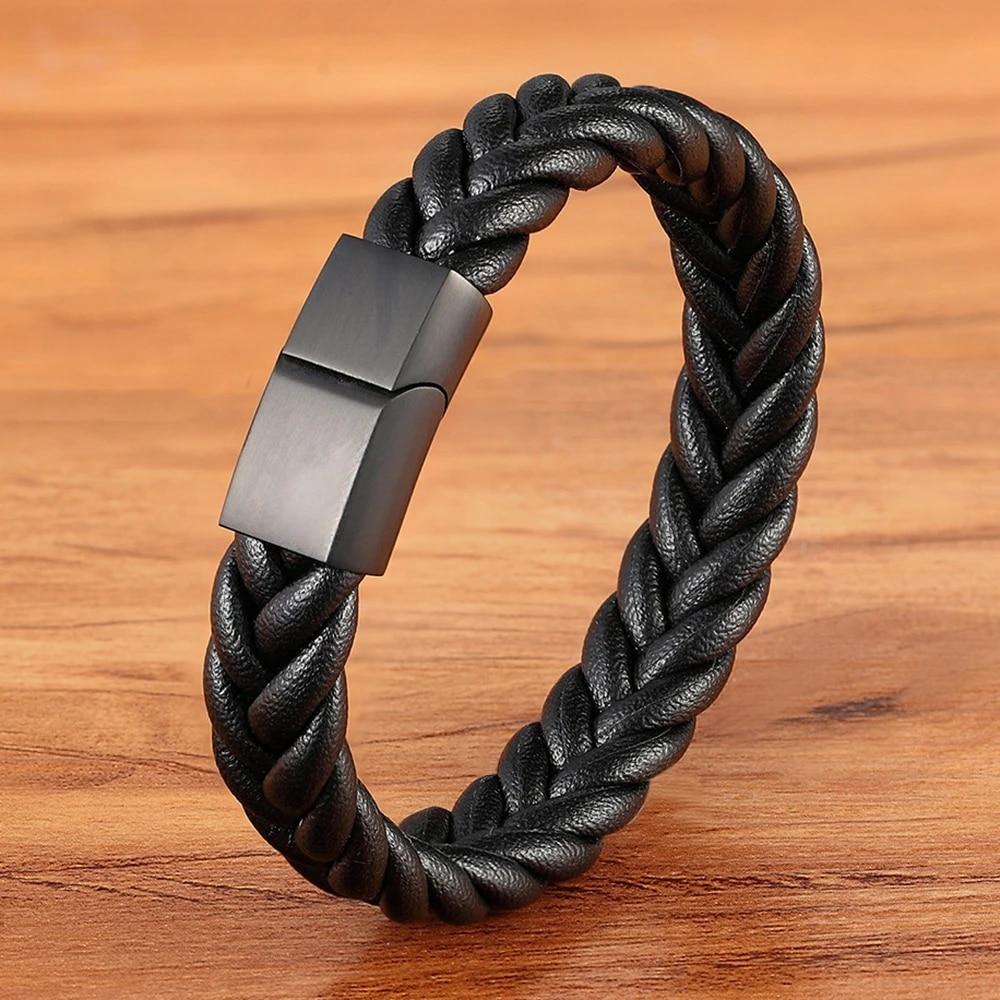 Bracelet pour homme et femme en acier inoxydable et cuir noir 21//19 cm