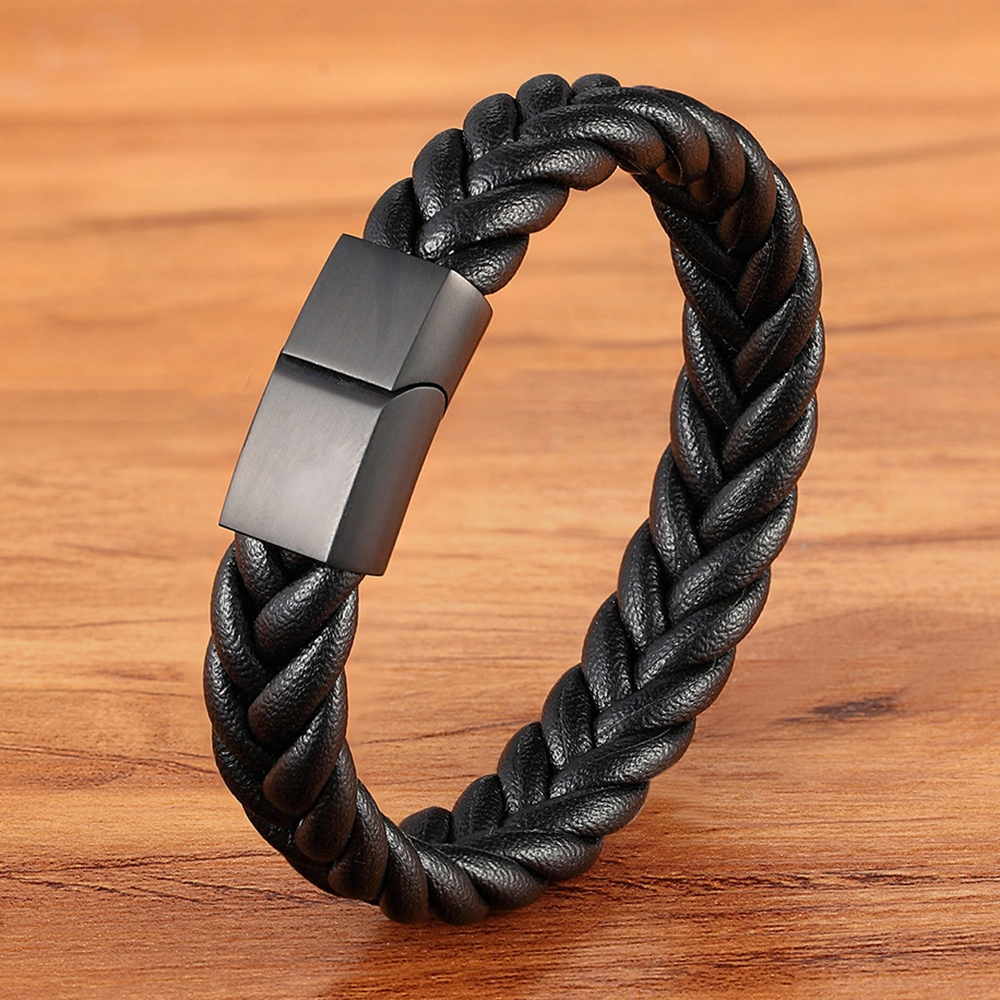 Classic Style New year Gift 6 Options Stainless Steel Leather Men's Bracelet Multi-color Magnet Buckle DIY Size Custom LOGO Sale
