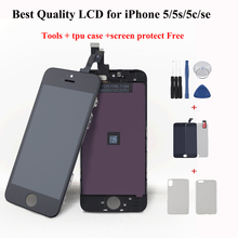 LCD For iPhone 5 5S 5c Display touch Screen Replacement for iPhone 6 5 SE LCD pixel display Module+Tempered Glass+Tools+TPU Case for iphone se 5 5s tpu case cover glossy surface brushed inner black