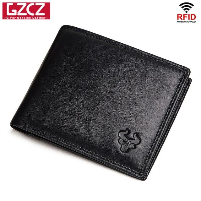 GZCZ Rfid 100% Genuine Leather wallet men credit card Purse portofolio slim wallets vallet Card Holder walet for women 2020