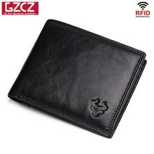 Gzcz rfid 100% carteira de couro genuíno dos homens bolsa de cartão de crédito portofolio fino carteiras vallet titular do cartão walet para mulher 2020