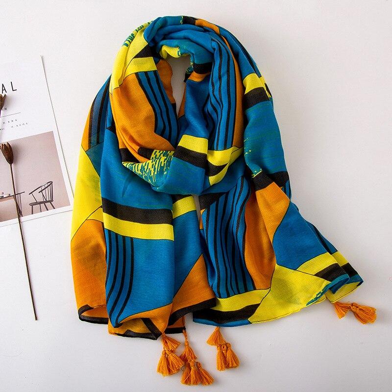 Summer Tourism Scarf National Style  Blue Orange Color Irregular Geometric Printing Cotton Hemp Scarf Shawl For Woman