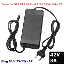 цена на 42V 3A Li-ion Battery Charger For 10S 36V lithium battery electric bike electric scooter Charger Plug DC/XLR/RCA/IEC connector
