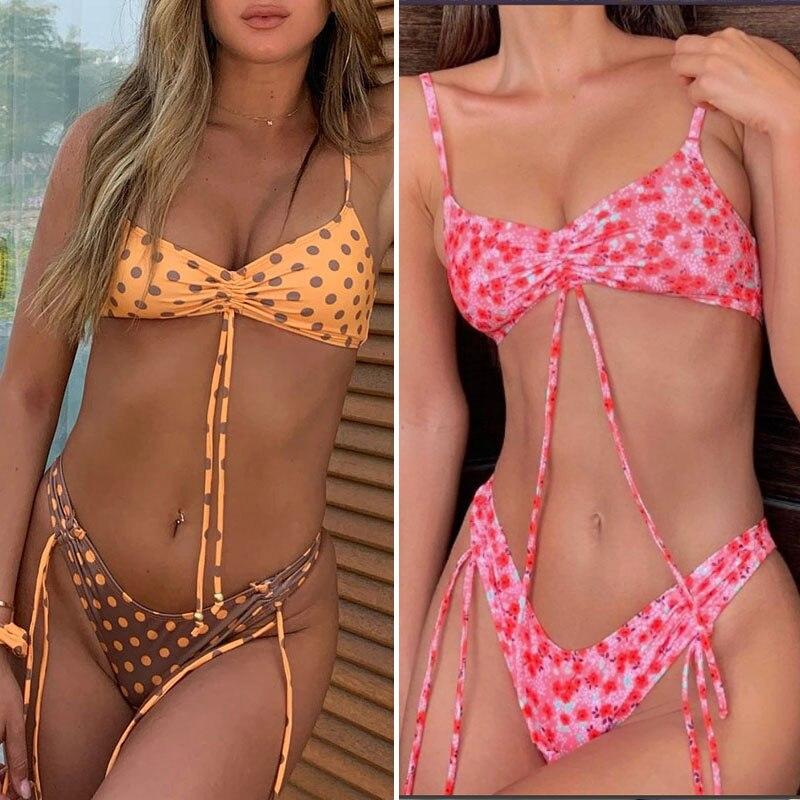 Zrtak 2020 Push Up Bikinis String Bademode Frauen Sexy Kordelzug Schwimmen Anzug Für Frauen Vintage Print Bikini Set Dot Badeanzug