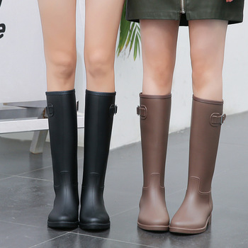 side flower rain boots women waterproof rubber fashion rainboots wedges casual high quality ankle short boots water shoes female New Women Rubber Rainboots Tall Rain Boots for Women British Classic Waterproof Rainboots Ladies Wellies Wellington Matte Boots