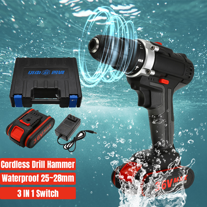 36V Cordless Electric Drill 5000mAh Rechargeable Battery Double Speed LED Screwdriver 25-Speed Torque Adjustment