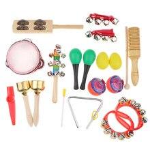 Juego de instrumentos musicales de percusión y ritmo Musical 12 en 1 para niños, juguete educativo para niños, pandereta, claxon, bolsa, 18 Uds.