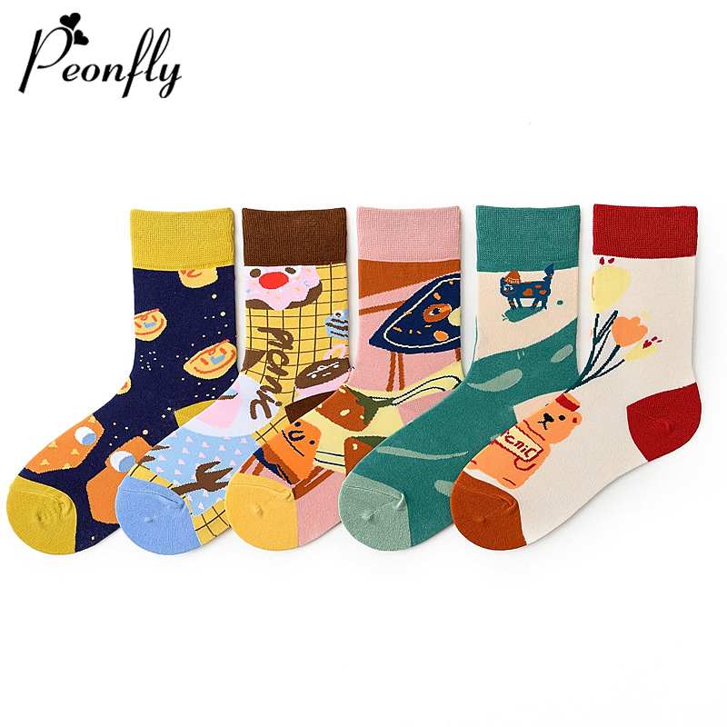 PEONFLY New 2020 Spring Summer Happy Socks Funny Abstract Printed Korean Calcetines Casual Dessert Creative Art Harajuku Socks
